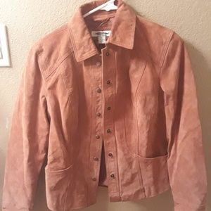 XS terra cotta colored leather jacket